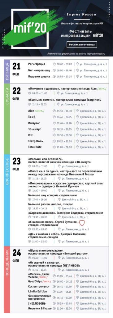 MIF'20 Расписание шоу импровизаций