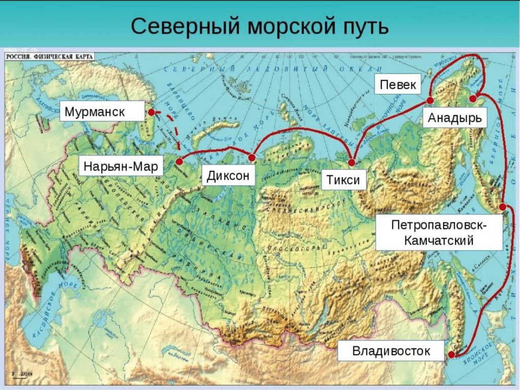 северно морской путь на карте